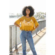 Crochet Short Sleeve Crop Top